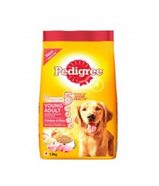 Pedigree Young Adult Dog Food Chicken and Rice, 1.2 kg