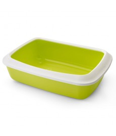 Savic Iriz Cat Litter Tray + Rim-Lemon Green