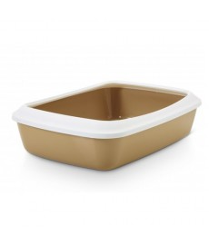 Savic  Iriz Cat Litter Tray + Rim - Retro  Brown