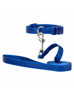 Woofi Dog Double Nylon Leash Collar set - Medium - Blue