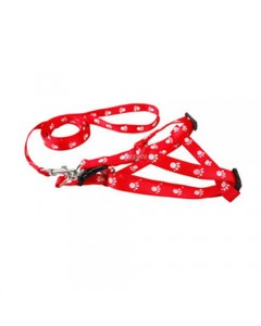 Woofi Dog Printed Adjustable Leash Set - Small - Red